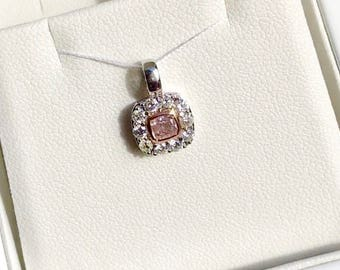 Natural Untreated Pink Diamond Pendant