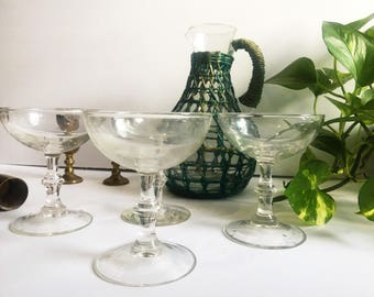Vintage Glass Champagne Coupes, Set of 4