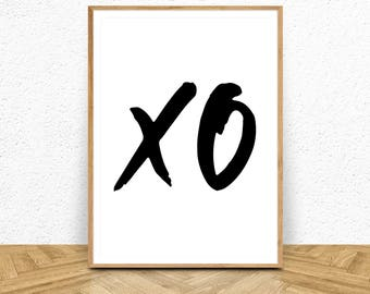XO Print, XO Printable, XO Wall Art, Black White Print, Digital Download, Minimalist Art, Minimalist Print, Typography Art, Typography