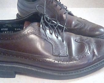 Vintage Oakwoods Wing Tip Longwing Oxfords Leather Mens Shoes Dark Brown 4085 W 46128 04886 H S91