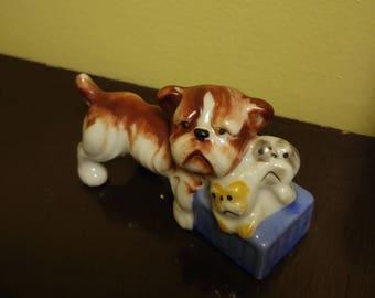 Bulldogs Figurine Made in Occupied Japan