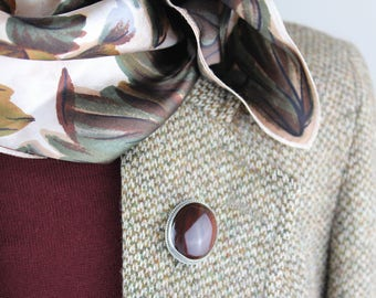 Large Scottish Banded Agate Bull's Eye Cabochon Vintage Sterling Silver Stone Pebble Brooch Pin