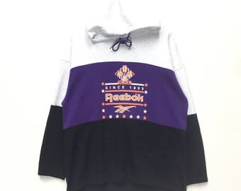 rare ! reebok big logo hoodie multi colour sweatshirt