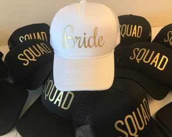 FAST SHIPPING - Bride Squad Hats / Bride Tribe Hats / Bachelorette Party / Bridal Party / Bride to Be / Bridemaids / Bridemaids Gifts