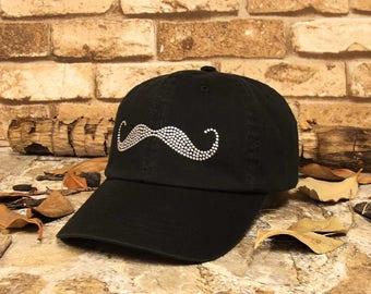 Mustache Washed Rhinestud Cap