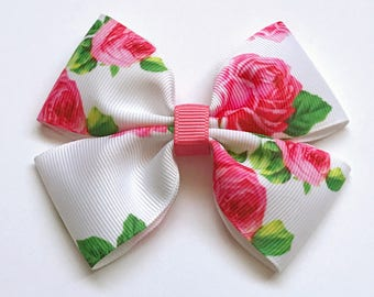 Pink roses pattern hair bow