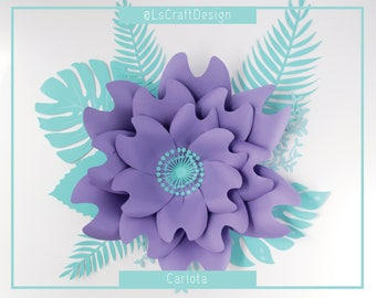 PDF Paper Flower, Paper Flower Template, Giant Paper Flower Template, Flower Template, DIY, Base and Instruction Including