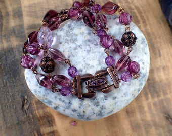 Amethyst and Copper Beaded Bracelet, Beaded Bracelet, Amethyst Bracelet, Copper Bracelet, Crystal Bracelet, Lilac Bracelet, Gifts for Her