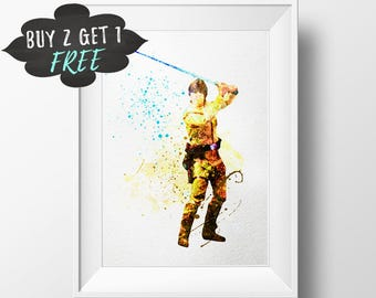 Luke Skywalker Art Print Poster, Star Wars Wall Art Nursery Decor Printable Watercolor Instant Download, Star Wars Art Print, Star Wars Gift
