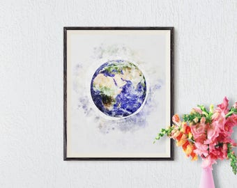 Earth Print, Earth Watercolor, Planet Print, Earth Wall Art, Instant Download, Earth Printable Art, Planet Wall Art, Planet Earth Art