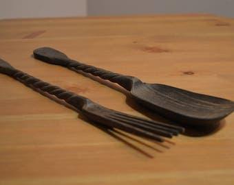 Vintage rustic folk art hand carved dark wooden salad fork & spoon