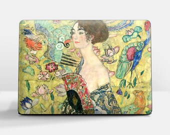 "Laptop skin (Custom size). Gustav Klimt, ""Woman with a Fan"". Laptop cover, HP, Lenovo, Dell, Sony, Asus, Samsung etc."