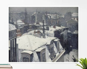 "Gustav Caillebote, ""Rooftops in the Snow"". Art poster, art print, rolled canvas, art canvas, wall art, wall decor"