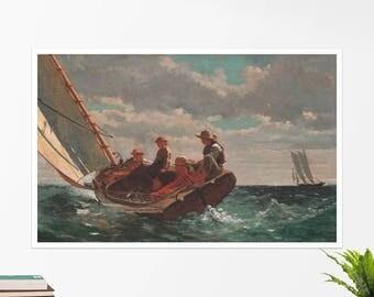"""Winslow Homer, """"Breezing Up"""". Art poster, art print, rolled canvas, art canvas, wall art, wall decor"""