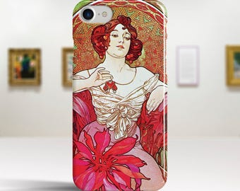 "Alphonse Mucha, ""Ruby"". iPhone 7 Case Art iPhone 6 Case iPhone 8 Plus Case and more. iPhone 7 TOUGH cases. Art iphone cases."