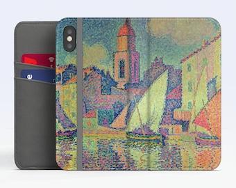 "Paul Signac, ""The Clocktower at St Tropez"". iPhone X Wallet case iPhone 8 Wallet case  iPhone 7 Plus Wallet case. Samsung Wallet cases."
