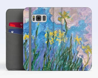 "Claude Monet, ""Iris Jaunes"". iPhone 8 Wallet case, iPhone 7 Wallet case  iPhone 6 Plus Wallet case. Samsung Wallet cases."