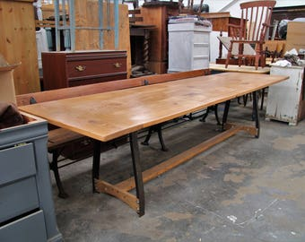 12 Person Industrial style Dining Table made from Pitch Pine Church Pews