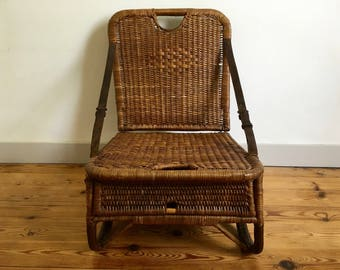 Chair seat fishing folding leather 1950 vintage rattan - french genuine leather fisherman seat folding cane rattan