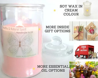 Cream Colour Pure Soy Candles with Hidden Gifts/ Choose more Scent/ 21oz