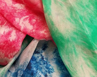 Hand Dyed Belly Dance Silk Veil- Summer's Day