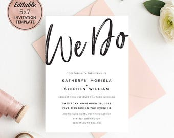 WE DO Wedding Invitation Template Download, Printable Editable PDF Wedding Invitation. Calligraphy Wedding Invitation. Instant Download.
