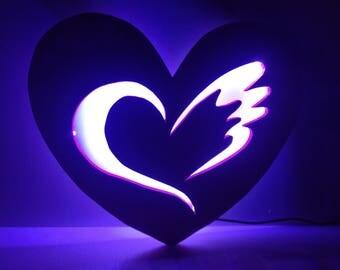 Lamp in the shape of heart shape on the inside