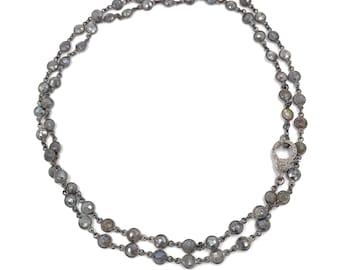 Long diamond labradorite gemstone necklace, Pave diamond necklace, Gray necklace, Layer necklace, Rosary chain, Diamond necklace