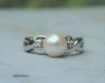 Vintage Platinum and Natural Pearl Engagement Ring with Diamond Accents