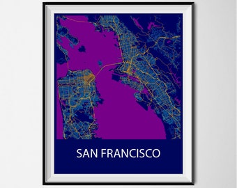 San Francisco Map Poster Print - Night
