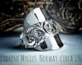 Stunning Ladies Norwegian Solid Silver Spoon Ring  by The Silversmith Brodrene Mylius,  in the 'Tele pattern' Circa 1960 Hallmarked 830s