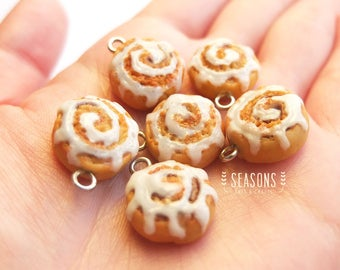 Cinnamon Roll Clay Charm (2/4/6 pcs) - Jewelry Supply - Miniature Food - Food Jewelry - Planner Charm - Gift for Her - Stitch Marker
