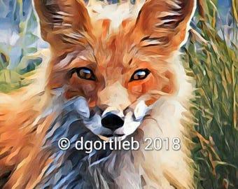 Red fox childrens art, framed 8 x 10 fox print,  woodland art print, fox art nursery,  art for kids room, fox wall art, fox home decor