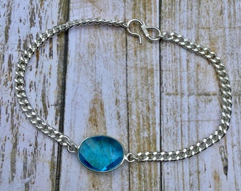 Blue Topaz Gemstone Silver Overlay Bracelet