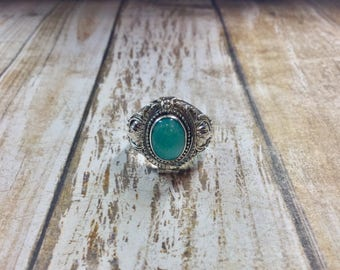 Larimar Sterling Silver Posion Ring Size 7.75