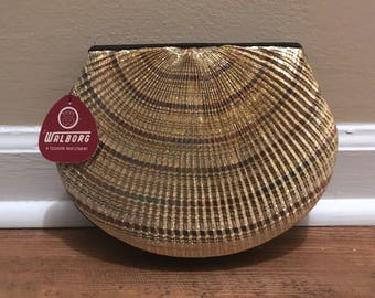Vintage Walborg Clamshell Evening Bag -- New with Tag -- Can be a clutch or shoulder bag