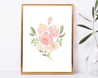 Instant Download, Watercolor Painting, Watercolor Picture Peony Art Print, Floral Art Print, Watercolor Art, Peony Picture, Digital Download