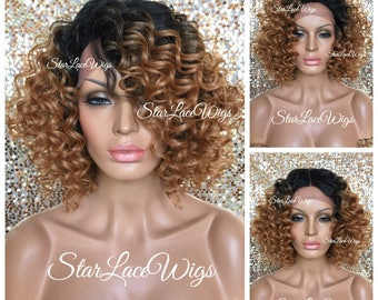Short Lace Front Wig - Curly - #27 Light Auburn - #1b Roots - Swiss Lace - 4x4 Parting Space - Heat Resistant Safe