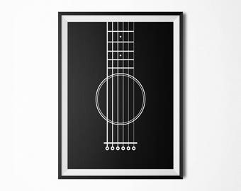 Black White Guitar / Guitar Poster / Musician Gift / Music Lover Gift / Scandinavian Print / Music Wall Art / Guitar Print