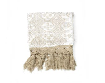 white and beige mexican rebozo | rebozos de artesania mexicana | shawl, scarf, baby wrap, carrier | mexikaner schal | mexique écharpe |