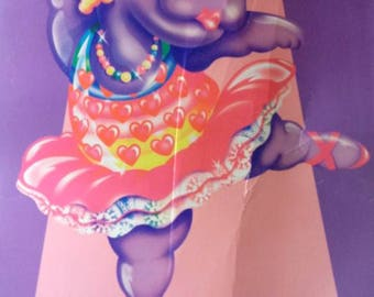 Vintage 1988 Lisa Frank Folder, Hippo, Ballerina, Ballet, fair condition