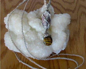 An Adjustable Sandalwood Macrame (Knotted) Hemp Necklace with a Rhodonite and Tiger's Eye Turtle Pendant and a Rhodonite Stone, RHO#1