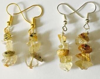 Gold rutilated quartz crystal earrings, gold crystals, gold earrings, gold stone, silver earrings, fish hook earrings, drop earrings,
