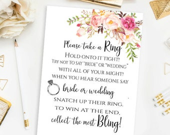 Floral Bridal Shower Please Take a Ring Game Bridal Tea Party Bridal Cards Bridal Shower Activity Printable Game Pastel Blooms Collection