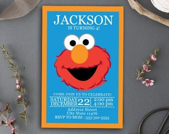 Sesame Street Birthday/Sesame Street/Sesame Street Invitation/Elmo/Elmo Birthday/Elmo Birthday Invitation/Elmo Invitation/Elmo Invites
