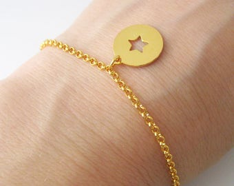 Star coin charm bracelet plated 24 k gold over Silver 925/1000
