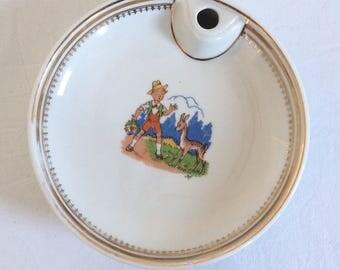 Plate dish heater white and gold baby in genuine Limoges porcelain. Illustrator Jef. Vintage 1970's
