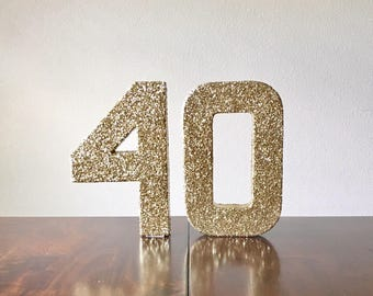 40 stand up numbers | gold double-sided glitter number | 40th birthday decorations | over the hill birthday | ships in 3-5 business days