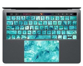 ON SALE MacBook Keyboard Sticker Blue MacBook Decal Watercolor Art MacBook Sticker Keys Key Decals Teal MacBook Skin MacBook Air Pro 13 15 1