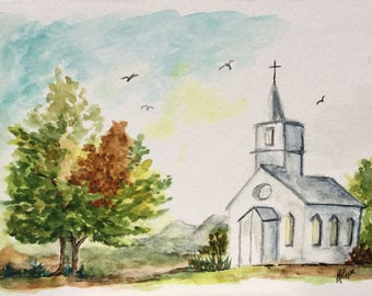 Church greeting card/Watercolor Greeting Card/Church watercolor/5 x 7 greeting card/Country church/Card and envelope/Landscape card